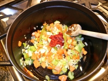 This continued to cook until the tomato paste integrated into the vegetables