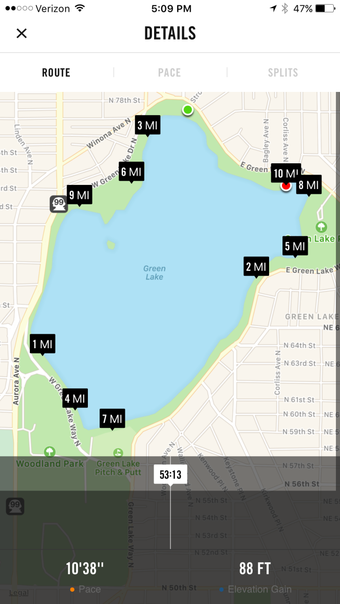 map of 10 mile run